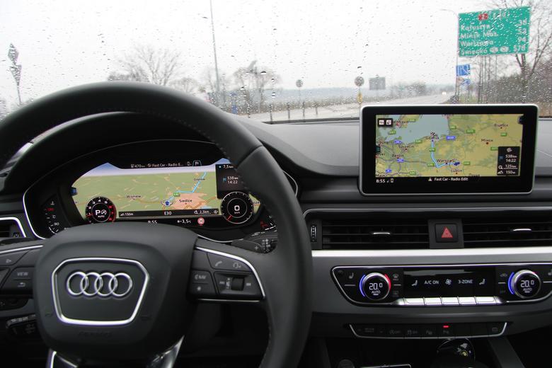 Audi A4 2016. Nawigacja MMI, Virtual Cockpit - zaplanowana trasa widoczna na obu ekranach