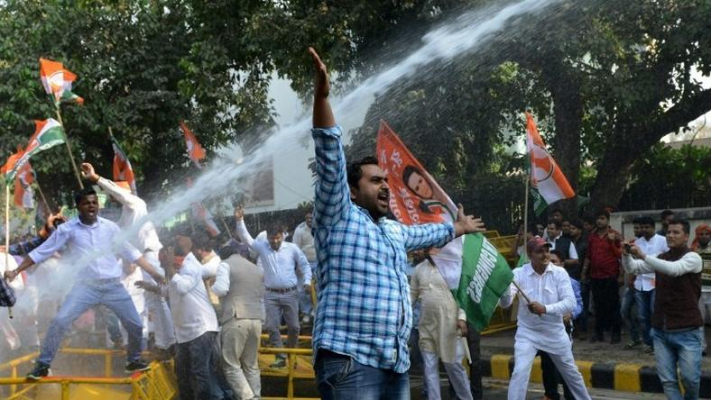 The Indian Youth Congress demonstrates against the government at Delhi, India's Jantar Mantar protest site