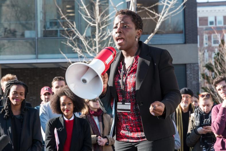 Umunna speaks at an Harvard Law School rally. She has worked at the institution since 2007. (Harvard Law Today)
