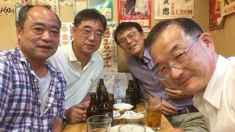 Katsuyoshi Watanabe z przyjaciółmi w Tokio