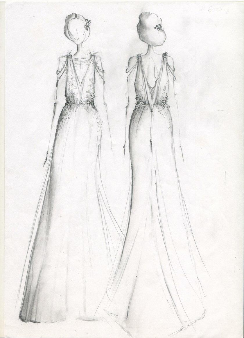 szkic projektu sukni Małgorzaty Rozenek