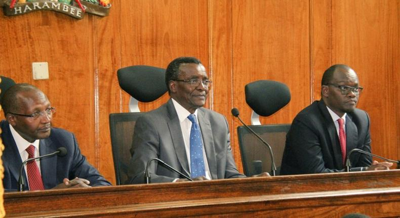 Chief Justice David Maraga during the swearing in of new magistrates (Twitter)