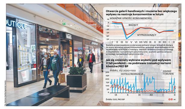 Otwarcie galerii handlowych i muzeów bez większego wpływu na nastroje konsumentów w lutym