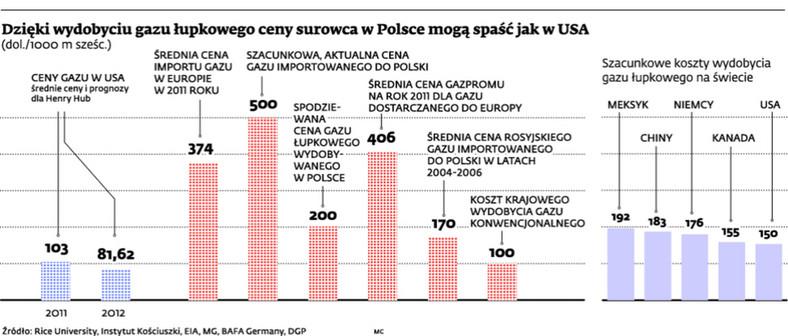 Dzięki wydobyciu gazu łupkowego ceny surowca w Polsce mogą spaść jak w USA