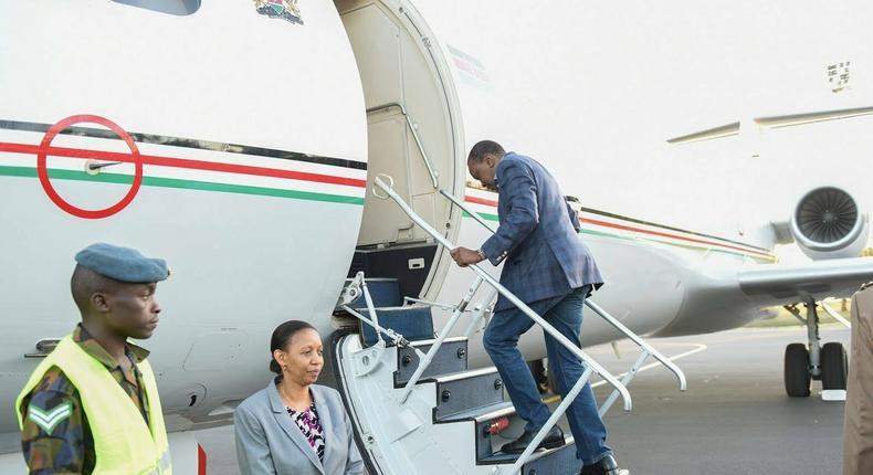 Uhuru Kenyatta boarding his flight