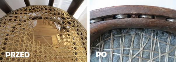 W przypadku gdy krzesło ma niezdatne siedzisko lub nie posiada go wcale, proponujemy usunąć ratan i zastosować w zamian żyłkę zbrojoną (taką do wieszania prania – wzmocnioną w środku drucikiem).