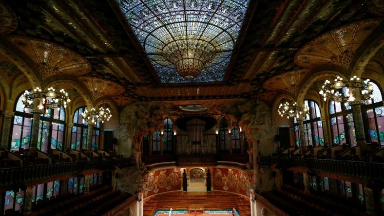 Rafael Nadal and Kei Nishikori played a promotional mini tennis match at the Palau de la Musica in Barcelona