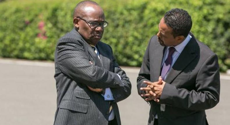 A file photo of President Uhuru Kenyatta's former legal adviser Abdikadir Mohamed (right) with former Attorney General Prof Githu Muigai