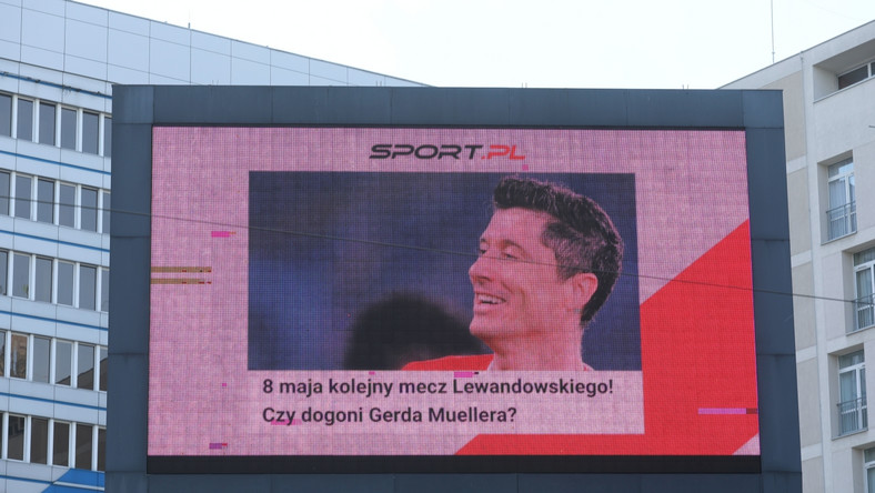 Licznik goli piłkarza Bayernu Roberta Lewandowskiego w Warszawie