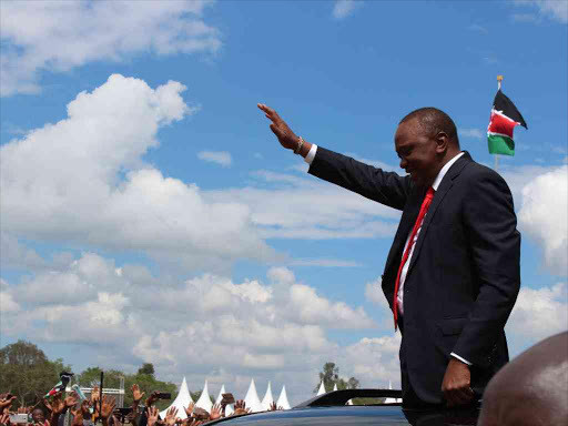 President Uhuru Kenyatta during the 54th Madaraka Day celebrations in Nyeri county. This year's celebrations will be mared in Narok