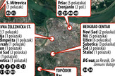 Lokacije stanica i linije gradskog prevoza