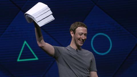 Mark Zuckerberg, prezes Facebooka, podczas przemówienia na konferencji F8