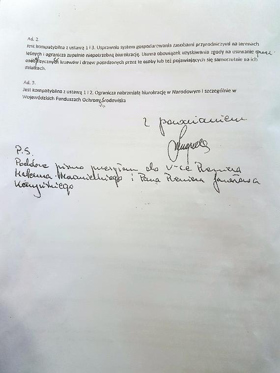List ministra Szyszki do Beaty Szydło ujawniony przez Greenpeace, fot. 2