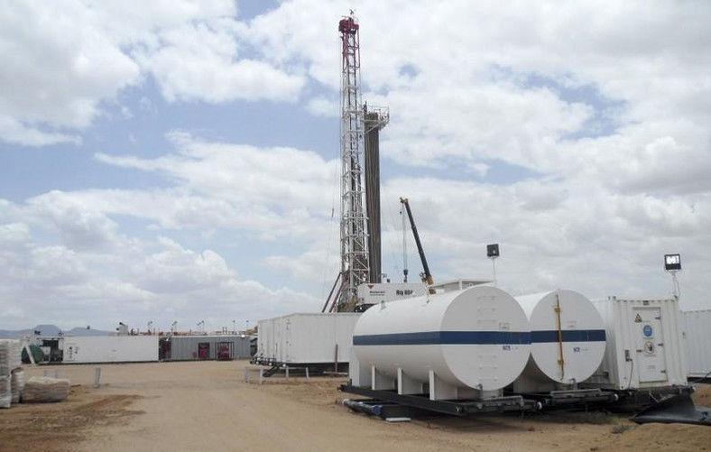 A general view shows an oil rig used in drilling at the Ngamia-1 well on Block 10BB, in the Lokichar basin, Turkana.