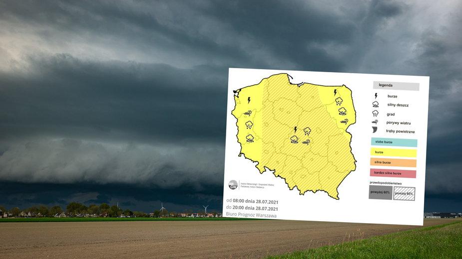 W środę spodziewamy się silnych burz