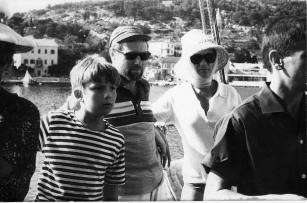 Tomasz, Krzysztof Komeda i matka Zofia na promie, w czasie pobytu w Jugosławii