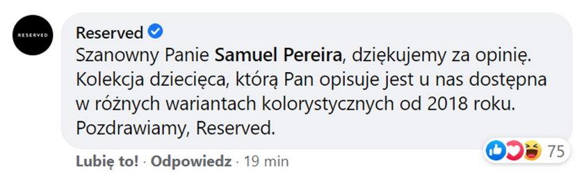 Po chwili Pereirze odpowiedziała marka Reserved.