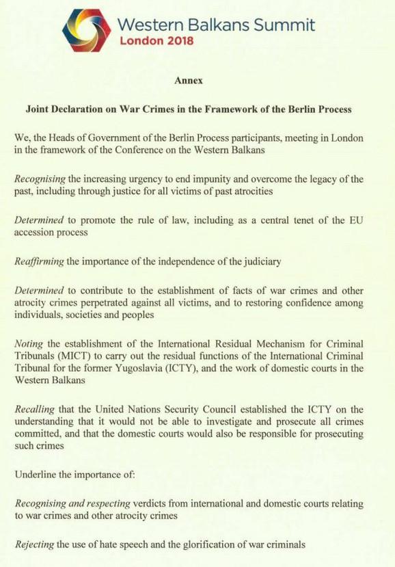 deklaracija o ratnim zločinima London