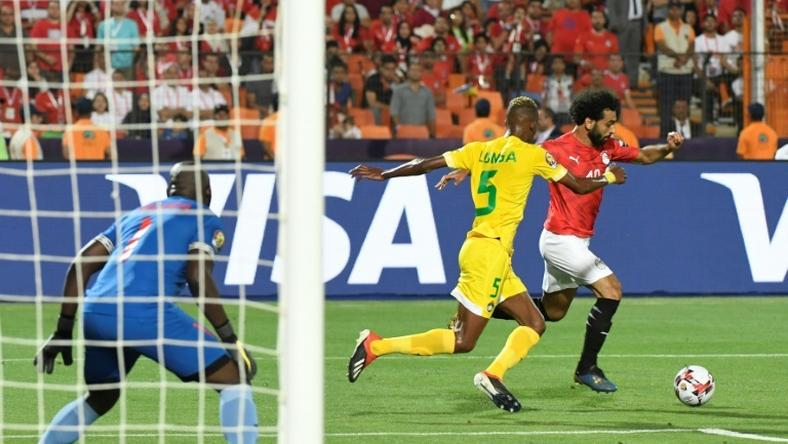Egypt superstar Mohamed Salah attempts to unleash a trademark left-foot shot in the Africa Cup of Nations victory over Zimbabwe