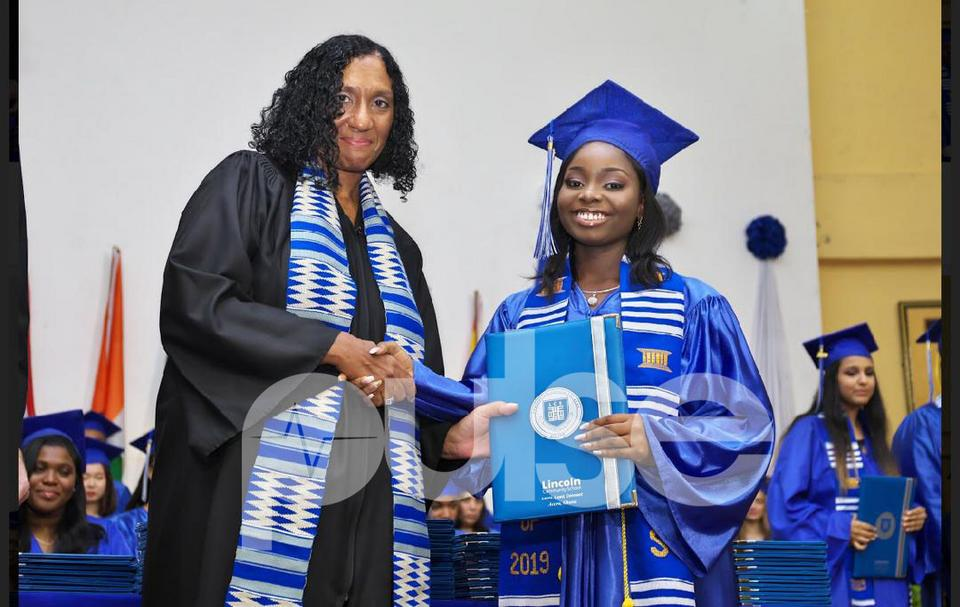 Carolyn Asante-Dartey during her Lincoln Community School graduation