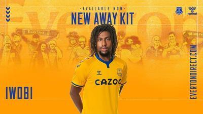 Alex Iwobi models new Everton away jersey
