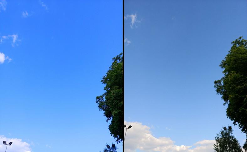 LG V30. Z lewej zdjęcie z AI, z prawej bez