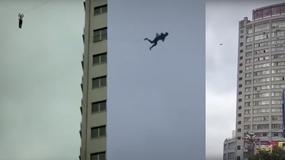 Uciekał z hotelu - utknął na kablu 20 pięter nad ziemią