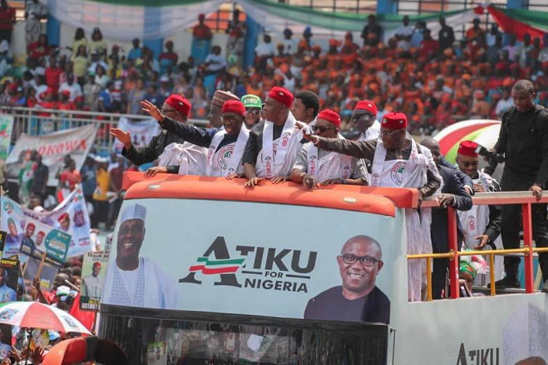 Atiku Abubakar and other PDP Chieftains during the party's campaign rally in Delta state