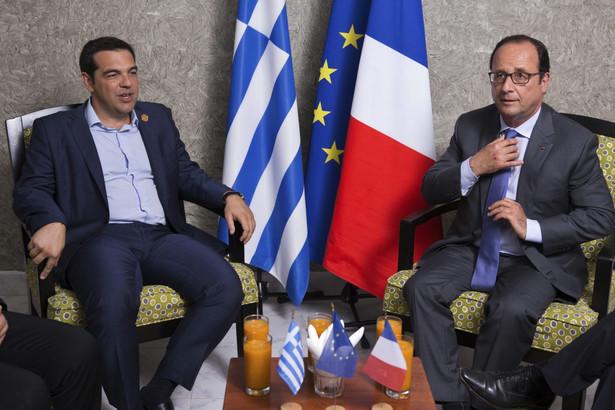 Prezydent Francji Francois Hollande i premier Grecji Aleksis Tsipras w Egipcie