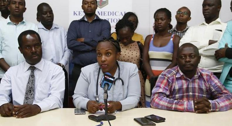 Dr Joy Mugambi, flanked by regional members of the Kenya Medical Association, addresses journalists in Nakuru on February 13, 2017. The association announced the closure of all private health facilities for 24 hours.