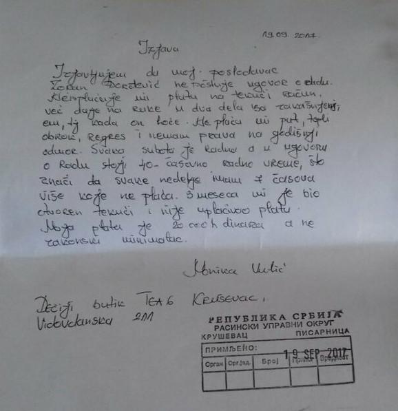 Monika je 19.septembra podnela prijavu protiv vlasnika zbog neregularne isplate zarada
