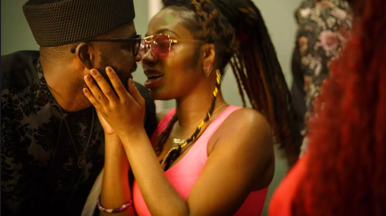 Gedoni and Khafi share a kiss during the second Saturday night party. [Africa Magic/Big Brother Naija]
