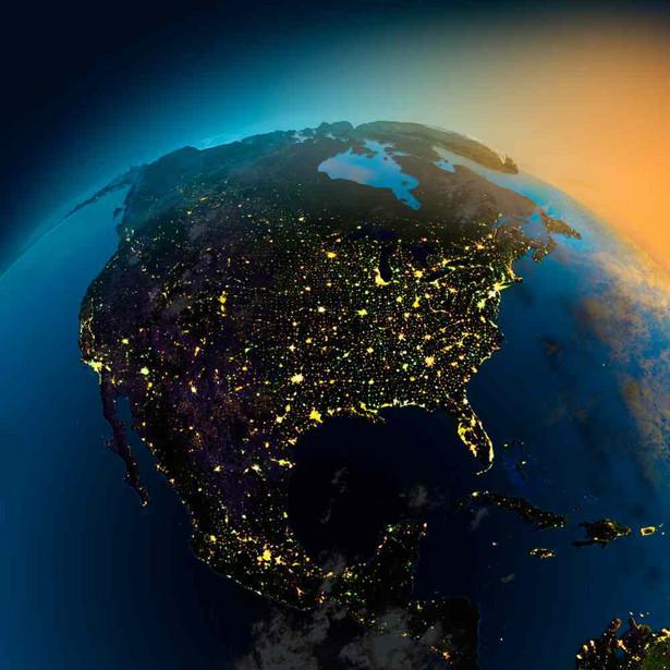 Stany Zjednoczone, Ameryka Północna, kula ziemska; mapa