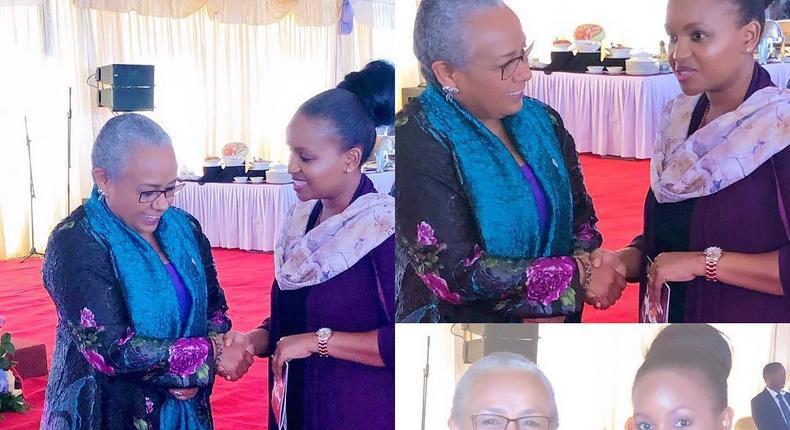 Grace Mslame with Margret Kenyatta. Grace Msalame speaks after surgery