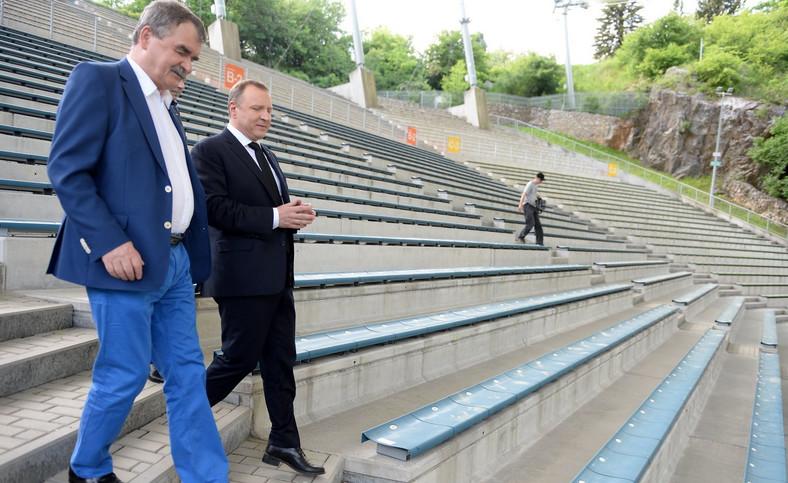 Prezes TVP Jacek Kurski i prezydent Kielc Wojciech Lubawski