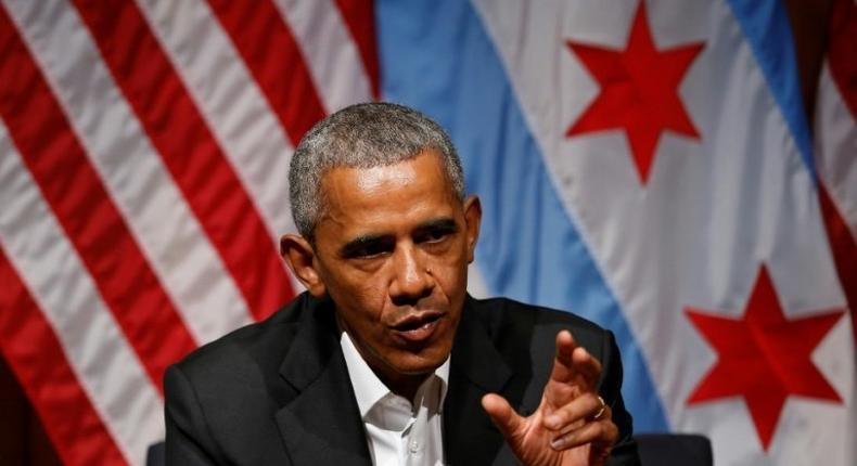 Former US President Barack Obama speaks with young people about community organizing in his first public appearance since leaving the White House