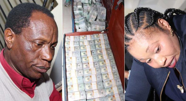 A collage image of two suspects who were arrested with fake cash equivalent to SH 32 billion in Ruiru