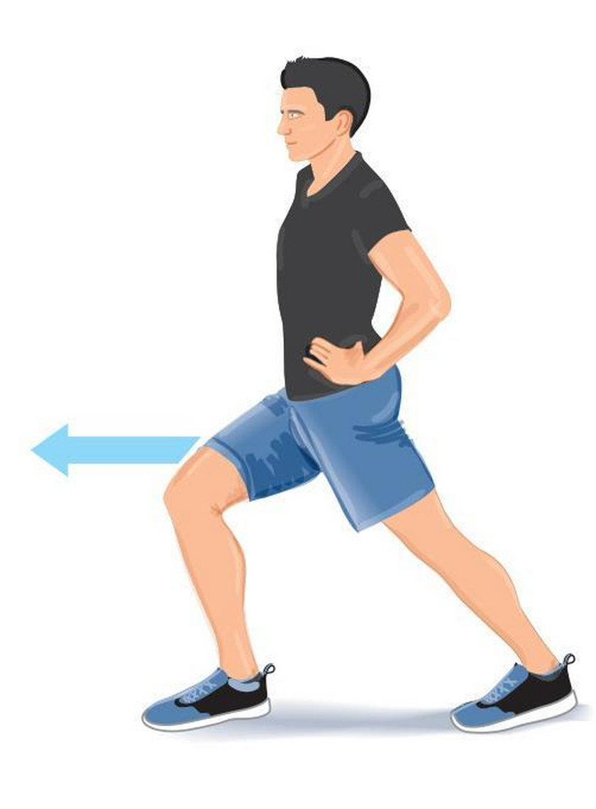 Ćwiczenie wieczorne 1. Stań w wykroku, ustaw stopy równolegle do siebie, pięta nogi zakrocznej musi przylegać do podłogi, kolano nogi zakrocznej wyprostowane.
