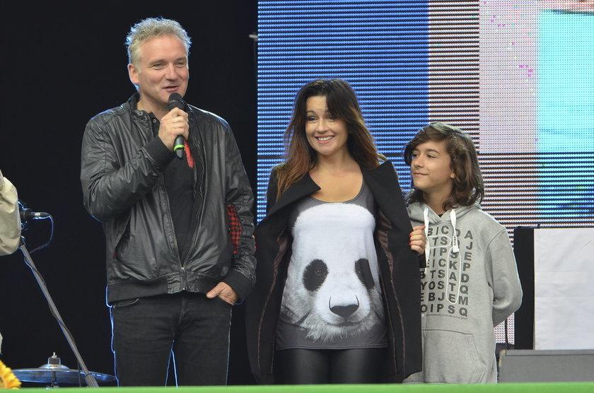 Beata Tadla z synem i Jarosławem Kretem