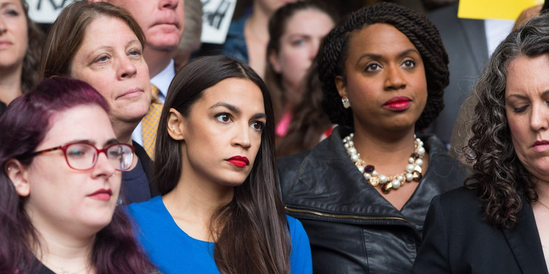 Reps.-elect Alexandria Ocasio-Cortez and Ayanna Pressley at a rally protesting Supreme Court Justice Brett Kavanaugh's nomination.