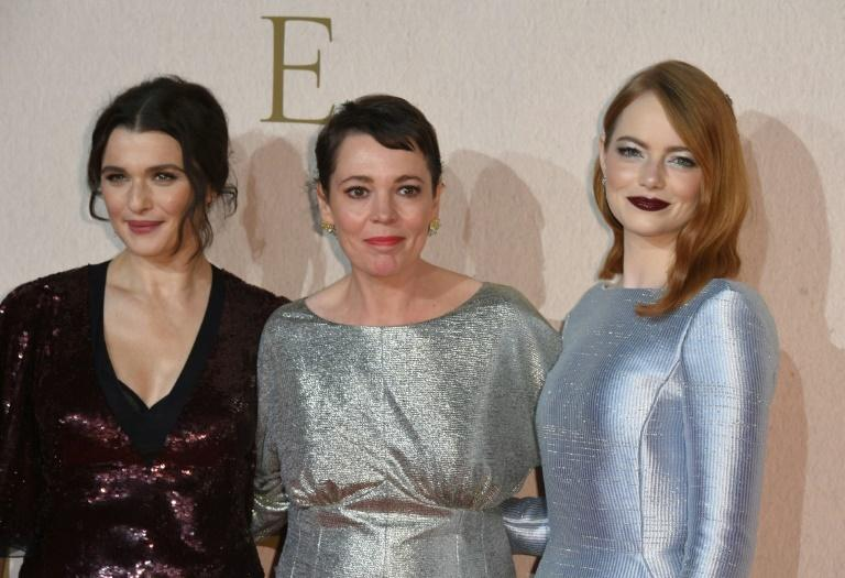 "(L-R) Actresses Rachel Weisz, Olivia Colman and Emma Stone are earning Golden Globes and Oscar buzz for their work in ""The Favourite,"" a bawdy of life in the royal court of Queen Anne (Colman)"