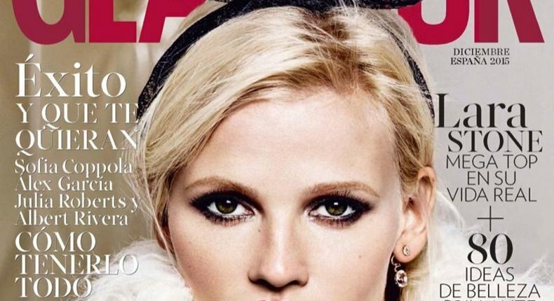 Lara Stone for Glamour Spain December 2015 issue