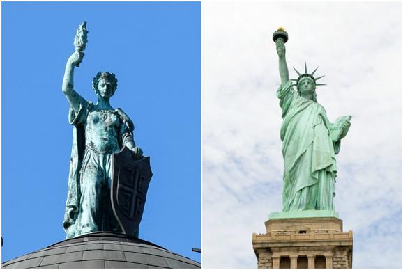 Liče: Statua na zgradi Vlade Srbije i čuveni Kip slobode u Njojorku