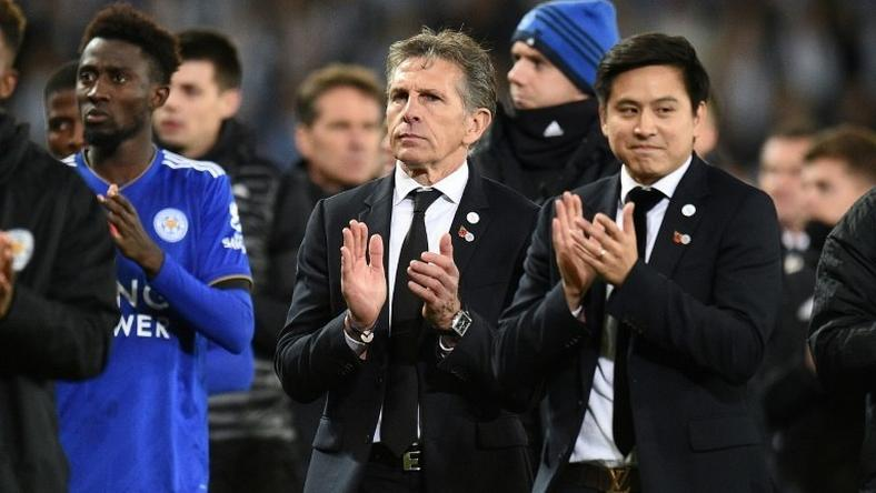 Leicester City manager Claude Puel (centre) applauds fans following the Premier League match against Burnley at the King Power Stadium
