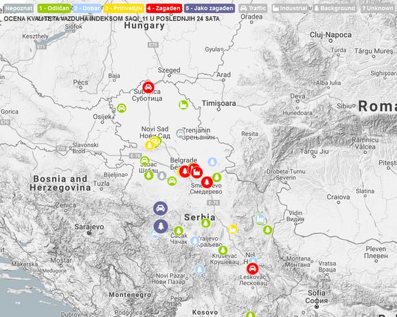 Zagađenje vazduha danas u Srbiji prema domaćoj agenciji SEPA