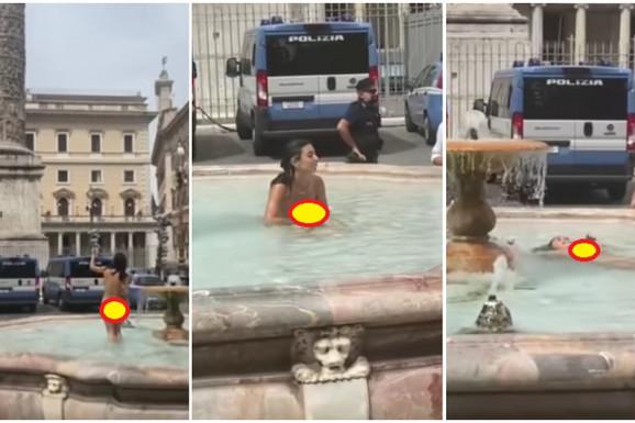PUK'O JOJ FILM ZBOG EURO 2020! Zanosna Italijanka šokirala Rim, skinula se gola pred policijom - i kupala se u gradskoj fontani!