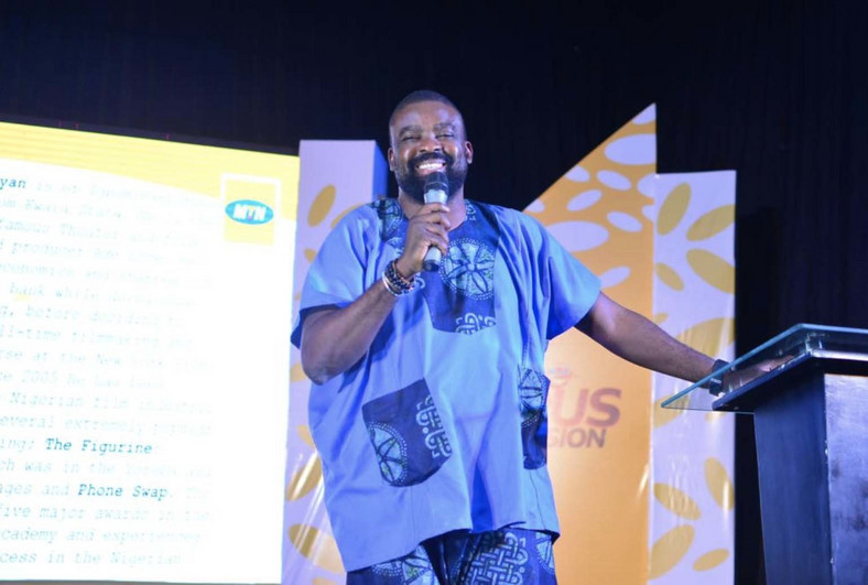 Popular film maker and actor, Kunle Afolayan, speaking at the MTN Pulse Campus Invasion, Kwara State