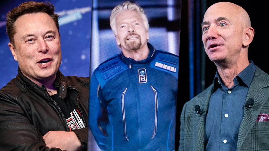Od lewej: Elon Musk, Richard Branson i Jeff Bezos