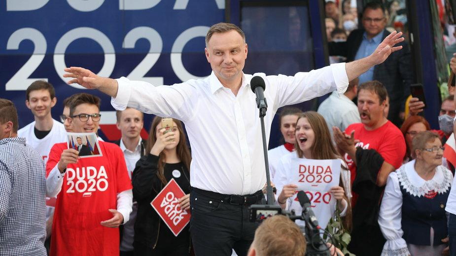 Andrzej Duda podczas kampanii, lipiec 2020 r.