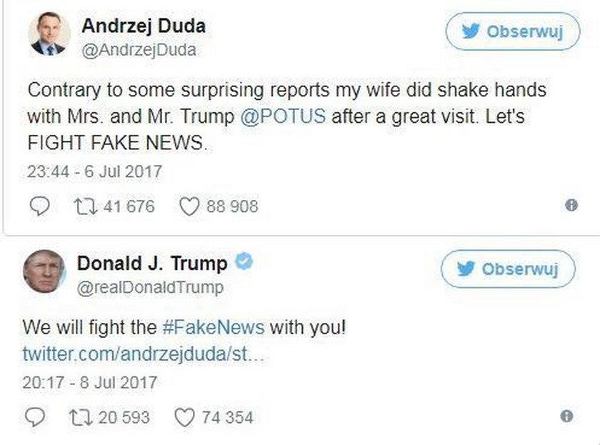 Donald Trump skomentował gest Agaty Dudy